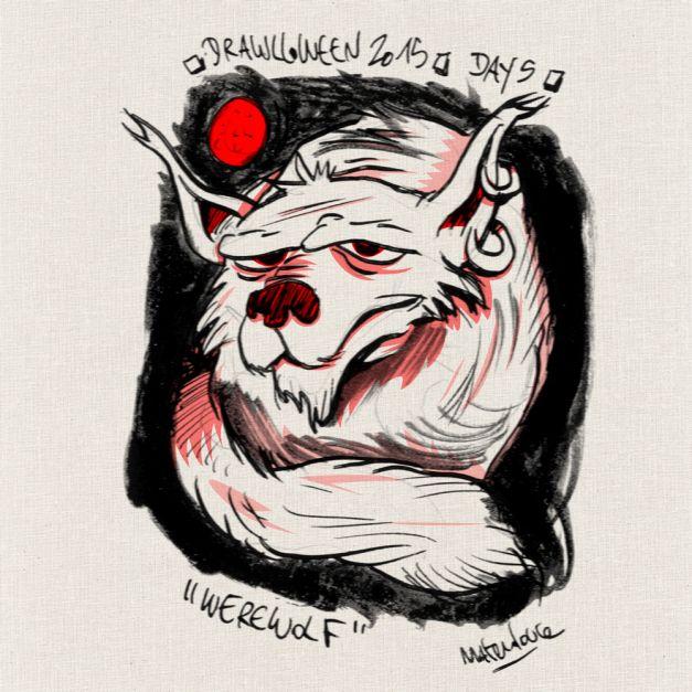 Drawlloween #05 - Werewolf, loup-garou