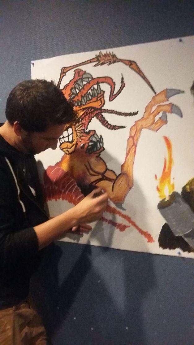 Fresque The Thing à la soirée Carpenter 02